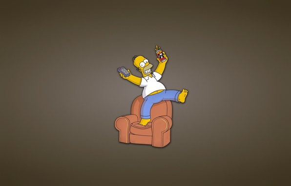 Picture sofa, The simpsons, minimalism, chair, remote, Bank, Homer, The Simpsons, Homer Simpson, fun