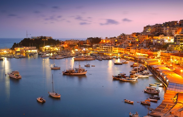 Picture sea, the sky, lights, coast, home, Bay, yachts, boats, the evening, Greece, horizon, lights, boats, ...