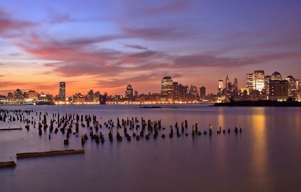Picture the sky, clouds, sunset, orange, lights, river, skyscrapers, the evening, backlight, USA, USA, columns, wooden, …