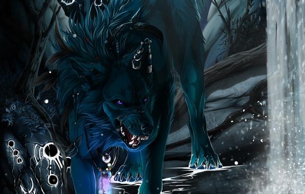 Picture black, waterfall, wolf, fangs, art, wolfroad