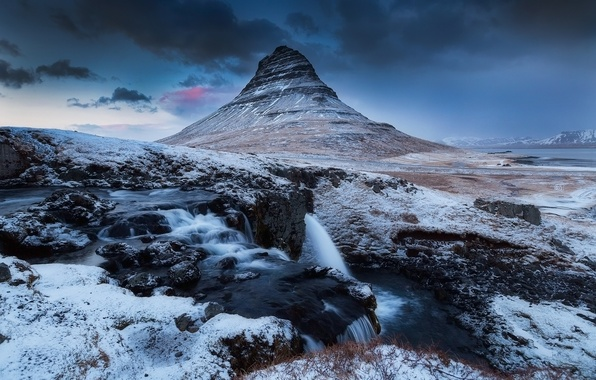 Picture winter, the sky, clouds, snow, rocks, mountain, waterfall, the evening, the volcano, Iceland, Kirkjufell