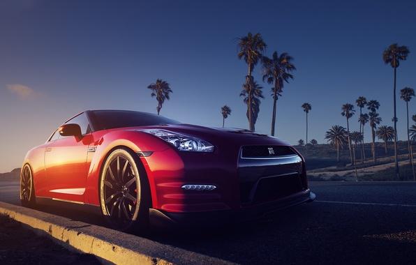 Photo Wallpaper Nissan Red Front R35 Road Palms Sundown