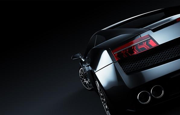 Picture Lamborghini, black, Gallardo, black, Lamborghini, rear, the dark background, Lamborghini, Gallardo, LP 560 4