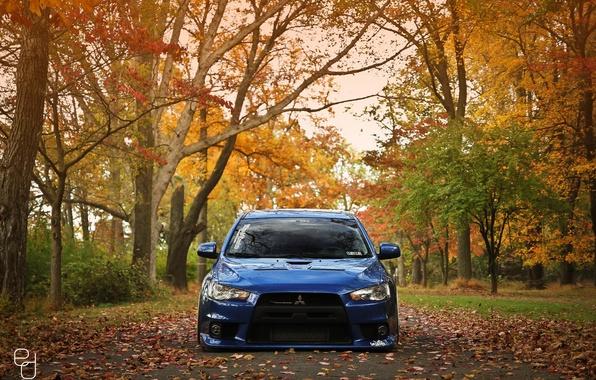 Picture road, autumn, blue, foliage, tuning, Mitsubishi, Evo X, Lancer, blue, autumn, understatement, drop