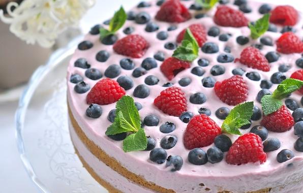 Picture berries, raspberry, cake, mint, cream, dessert, blueberries