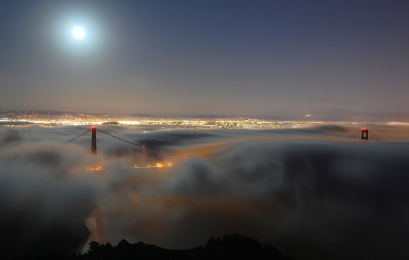 Picture night, bridge, the city, lights, fog, Strait, the moon, the evening, haze, Golden gate, America, …
