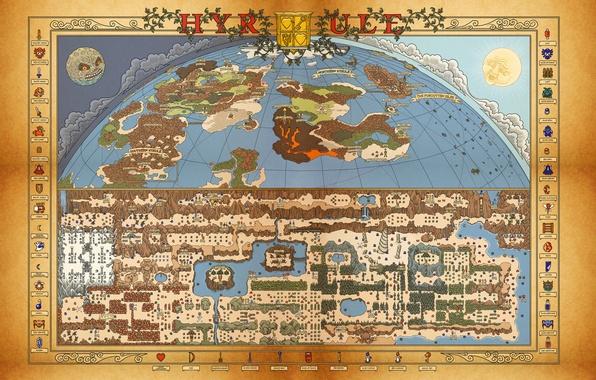 Picture Nintendo, map, Retro, Zelda, itemps, Nes