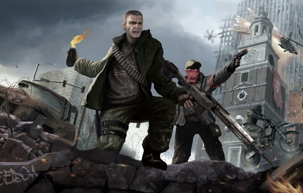 Picture freedom, weapons, warrior, soldiers, ruins, revolution, a Molotov cocktail, Homefront: The Revolution