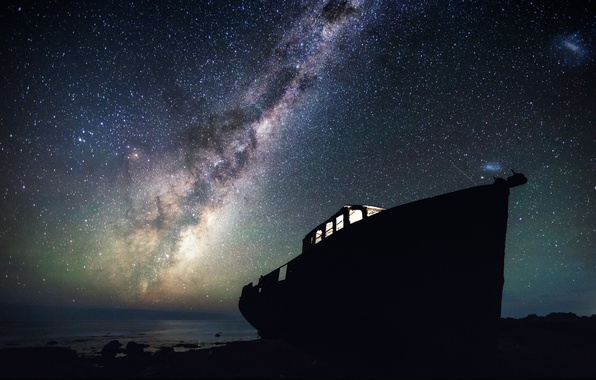 Picture the sky, light, night, romance, shore, boat, stars, the skeleton, photographer, Mark Gee