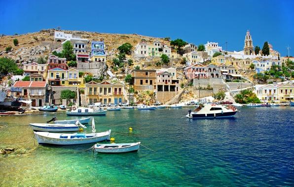 Picture sea, coast, home, boats, Greece, Greece
