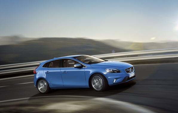 Picture road, movement, Volvo, Volvo, V40, C40, R-Design