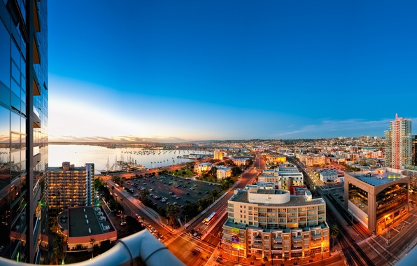 Picture landscape, city, the city, the evening, panorama, street, san diego