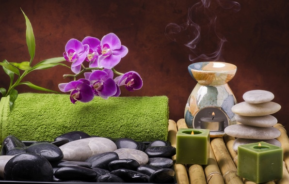 Picture flowers, stones, candles, bamboo, relax, Orchid, flowers, Spa, still life, candles, spa, salt, wellness