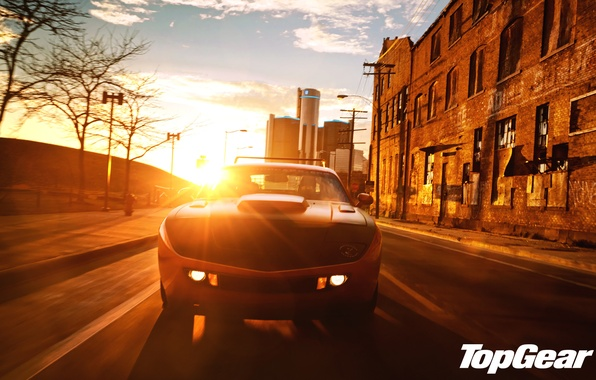 Picture the sky, sunset, orange, the city, tuning, Top Gear, Dodge, Challenger, muscle car, tuning, the ...