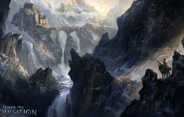 Picture mountains, bridge, the city, river, castle, waterfall, rider, traveler, dragon age inquisition