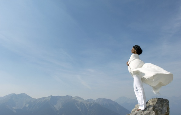 Picture the sky, girl, mountains, rocks, the wind, top, in white