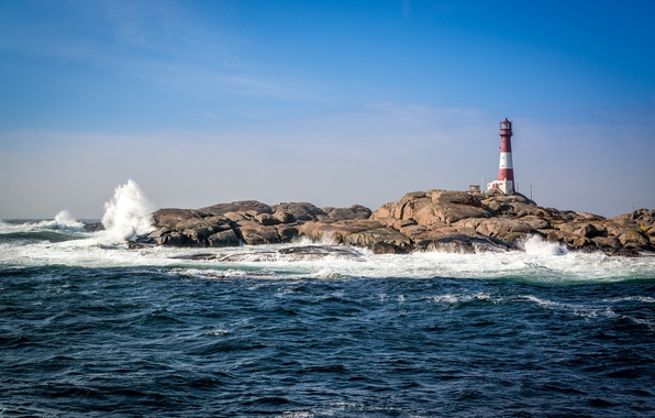 Picture sea, wave, the sky, stone, lighthouse, the troubled sea
