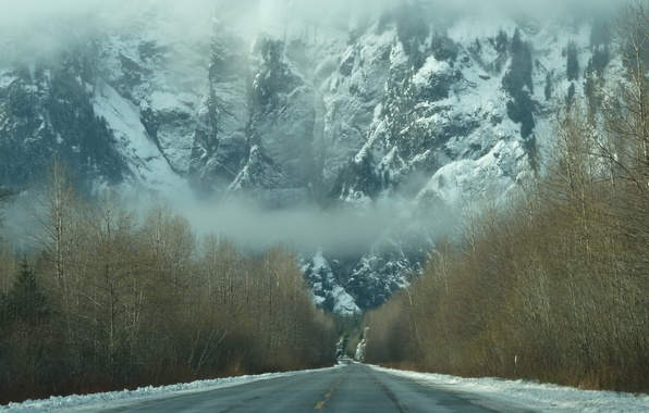 Picture road, forest, snow, mountains, fog, Winter, haze