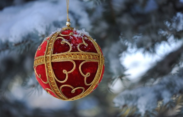 Picture macro, snow, toy, tree, ball, New Year, Christmas, decoration