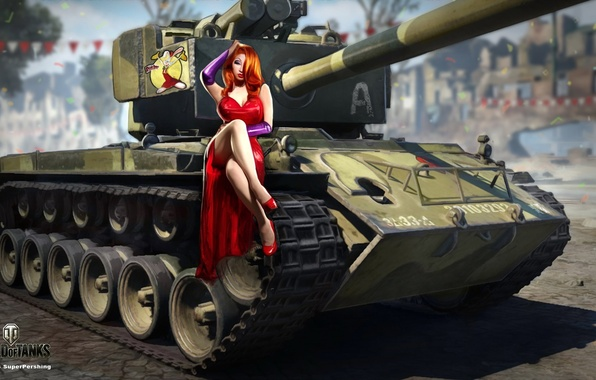 Picture girl, the city, holiday, street, figure, dress, art, tank, red, in red, American, average, World …