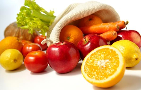 Picture apples, food, oranges, fruit, vegetables, tomatoes, carrots, lemons