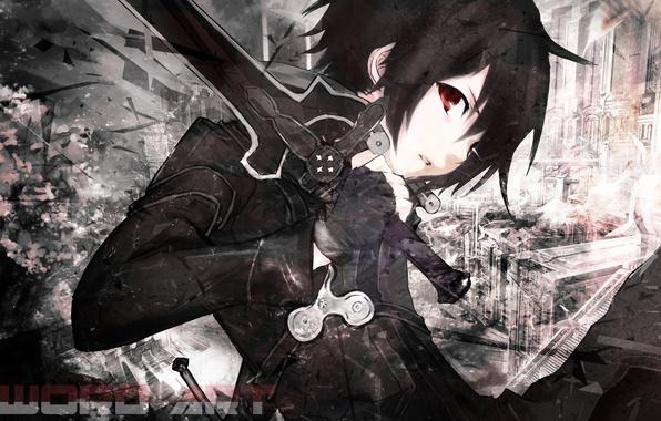 Picture look, sword, black hair, Sword Art Online, Kirito, black cloak