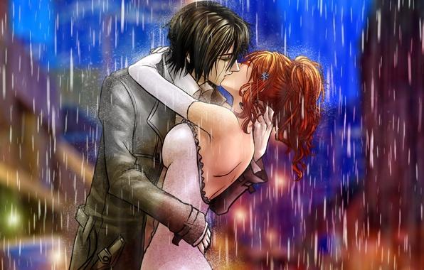 Picture girl, rain, kiss, art, pair, guy, bleach, ulquiorra ships, inoue orihime, billiefeng