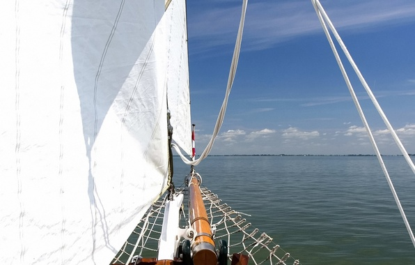 Picture sea, clouds, yacht, sails