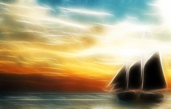 Picture sea, the sky, clouds, light, line, landscape, ship, sailboat, horizon