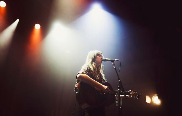 Picture scene, guitar, microphone, singer