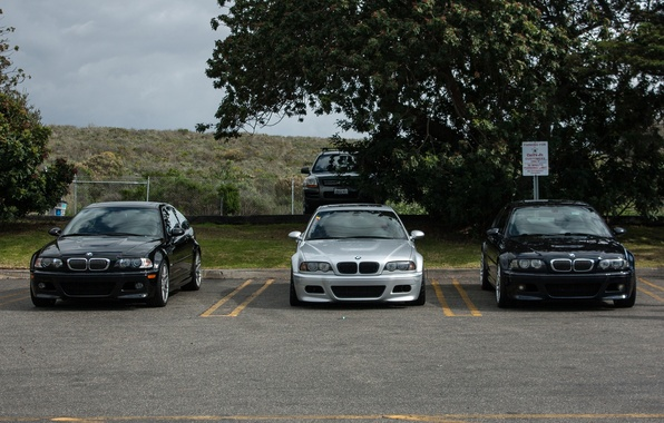 Picture the sky, trees, blue, clouds, bmw, BMW, silver, Parking, blue, the front, silvery