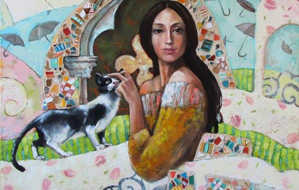 Picture cat, girl, mosaic, patterns, paint, curls, picture, art, umbrellas, arch, Mariana Kalacheva