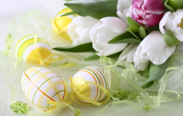 Picture flowers, holiday, eggs, tulips, Easter
