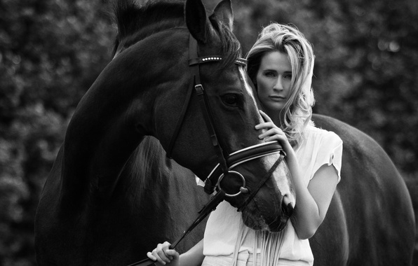 Picture girl, photo, animal, horse, model, horse, black and white