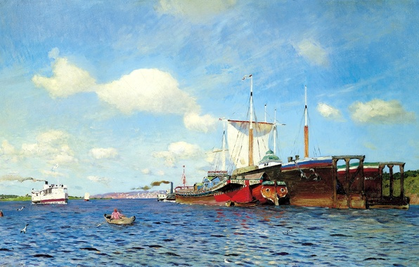 Picture the sky, water, clouds, river, boat, seagulls, ships, picture, sail, painting, Levitan Isaac, fresh wind