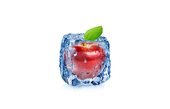 Picture drops, abstraction, apple, Apple, water, art, ice, cube, water, ice, fruit, frozen, drops, white background, …