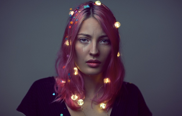 Picture look, girl, face, lights, background, hair, color, garland