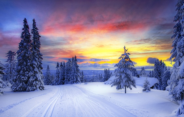 Picture winter, road, forest, the sky, clouds, snow, trees, sunset, mountains, traces, nature, tree, Norway