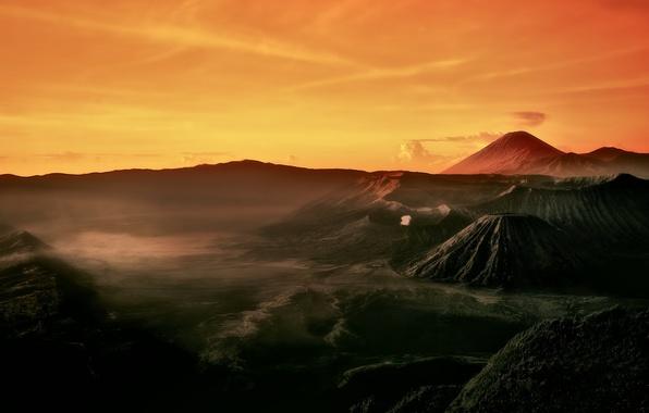 Picture morning, Indonesia, Java, Tengger, volcanic complex-the Caldera TenGer, active volcano Bromo