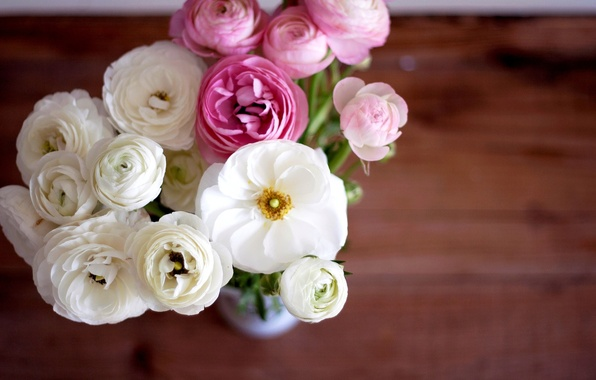 Picture flowers, bouquet, petals, vase, pink, white, buds, buttercups, ranunculus