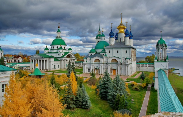 Picture the sky, the city, photo, spruce, Cathedral, temple, Russia, the monastery, Spaso-Yakovlevsky Dimitriev monastery