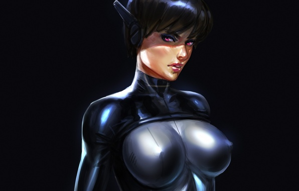 Picture chest, look, girl, art, costume, bodysuit, Sci-fi