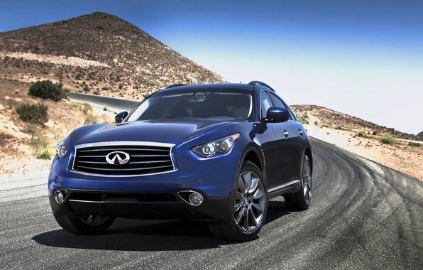 Picture road, landscape, mountains, lights, wheel, emblem, infiniti, SUV, hatchback, Sport Utility Vehicle, FX35
