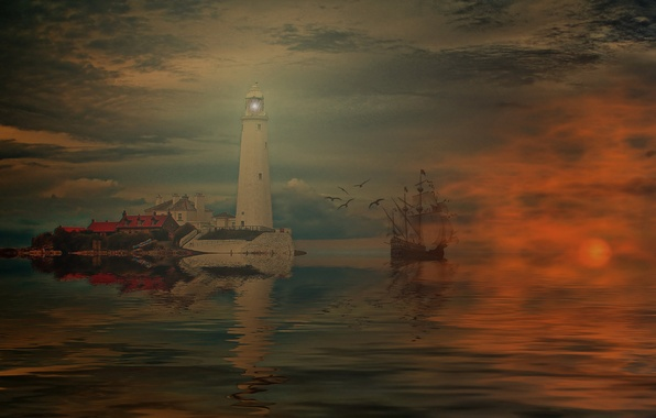 Picture sea, the sky, clouds, reflection, lighthouse, ship