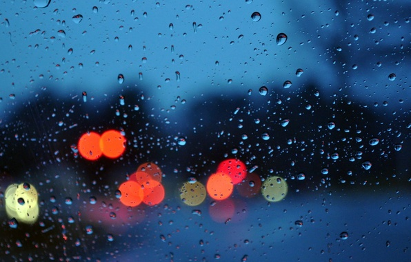 Picture glass, drops, light, the city, lights, rain, mood, the evening, bokeh