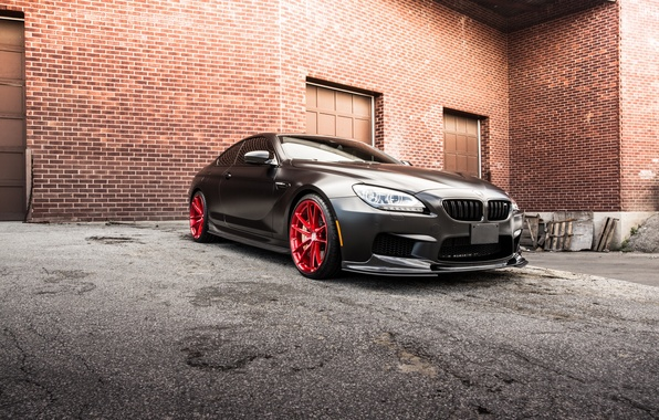 Picture black, the building, bmw, BMW, coupe, black, f13, brick