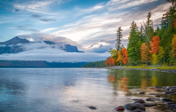 Picture autumn, forest, clouds, mountains, nature, lake, reflection