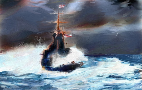 Picture sea, style, ship, picture