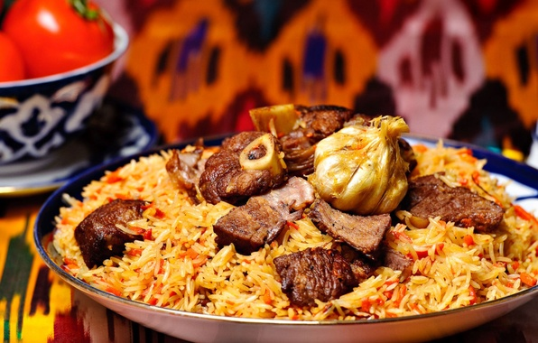 Picture food, bow, meat, figure, tomato, carrots, dish, Uzbek dish, Pilaf, lagans