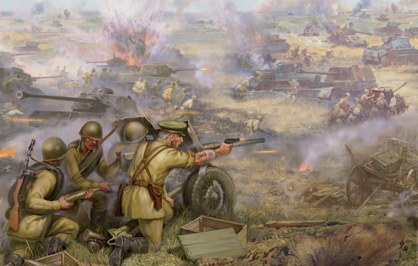 Picture field, war, USSR, soldiers, tanks, Russian, the Germans, the Nazis